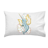 Flying Whale Narwhal Flying w/ Wings in Clouds - Pillow Case Single Pillowcase