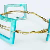 Teal Mother of Pearl Wire Wrapped Bangle - Mother of Pearl Bracelet - Gold Wire Wrapped Bracelet - Teal Shell Bracelet - Gold Bangle