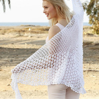 Summer Shawl Lace crochet Shawl white shawl wedding shawl gothic shawl black shawl pink shawl spring shawl cotton fashion Drops Lilith