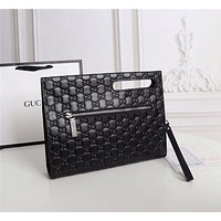 Hot33 Woman Men Envelope Clutch Bag Leather File Bag Tote Handbag