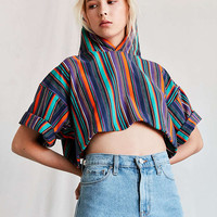 Vintage Rainbow Stripe Cropped Hooded Tee - Urban Outfitters