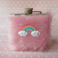 Cute Flask, Pink Flask, Girly Flask, Kawaii Hip Flask for Women, Party Girl, Sorority Flask, Pastel Goth, INCLUDING 6oz FLASK, Womens Flask