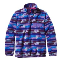 Patagonia Women's Synchilla® Recycled Fleece Lightweight Snap-T® Pullover   Pop Dots: Classic Navy