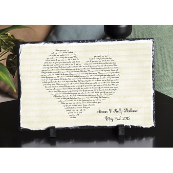 Customizable Slate Song Lyric Music Sign - Heart Lyric Plaque - Handmade and Personalized
