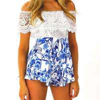 Strapless Lace Overlay Short Romper