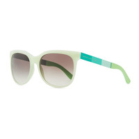 Plastic Round-Bottom Rectangle Sunglasses, Green - MARC by Marc Jacobs - Green/Gray