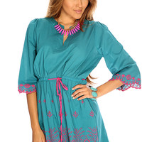 Teal V Cut Two Tone Embroidered Detailing Cute Summer Dress