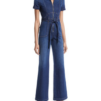 AO.LA by Alice+Olivia Gorgeous Wide-Leg Fitted Denim Jumpsuit