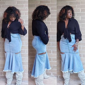 BELLE - Peplum Denim Skirt