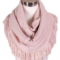 Luxe Fringe Infinity Scarf in Blush - Last One!