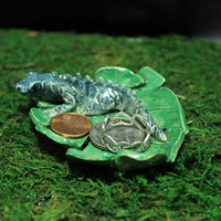 Blue Iguana trinket or ring dish handmade pottery