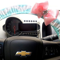 Chevron Steering Wheel Cover Aqua and White Steering Wheel Cover with Bow