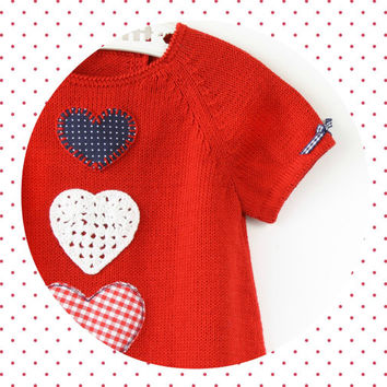 knitted baby dress. Red. Hearts. 100% cotton. READY to SHIP size 3-6 months.