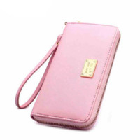 Mobile Phone Packet Cross Pattern Long Hand Bag Zipper Wallet Y723 B0015305