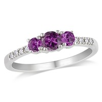 0.04 CT  Diamond TW And 3/5 CT TGW Created Alexandrite 3 Stone Ring 10k White Gold GH I2;I3