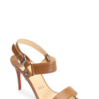 Christian Louboutin - Sova Tan Leather Buckled Sandal, 85mm