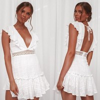 Ordifree Summer Women White Lace Ruffle Mini Dress Sundress Crochet Sexy Backless Short Tunic Beach Dress