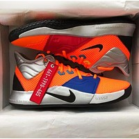 NIKE PG 3 NASA Fashion Men Breathable Sport Shoes Basketball Sneakers Orange&Blue
