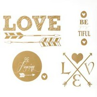 Gold Love with Hearts & Arrows Wall Decals : Target