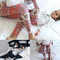 Family Matching Mother Daughter Girls Baby Floral Pants Capris Leggings Trousers