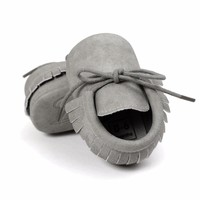New Brand Pu solid leather Toddler Baby moccasins New Spring Ati-slip Toddler shoes First walkers lace-up Baby shoes