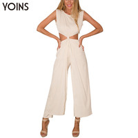 YOINS New Women Sexy Sleeveless Cut Out Jumpsuit Fashion Zip Back Crew Neck Full Length Jumpsuit Rompers Overalls