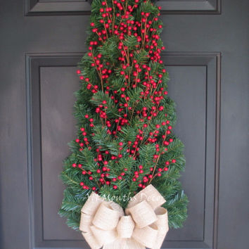Red Holly Berry Christmas Tree Wreath Large