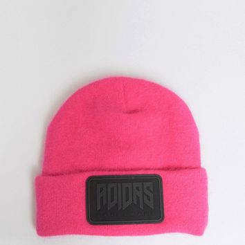 Adidas Fluffy Beanie With Large Logo In Pink at asos.com