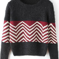 Black Sweater with White and Red Details