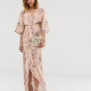 Hope & Ivy knot front maxi dress with in multi floral | ASOS