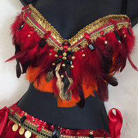Phoenix Firebird Outfit (bra/ feather belt): Rave wear, rave outfit, edm, edc, festival, rave, halloween, costume, belly dancer outfit, plur