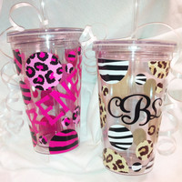 Set of THREE 16 oz Jungle Print Double Insulated cups with lids and straws - Acrylic Tumbler BPA FREE - Animal Print (Zebra or Cheetah)