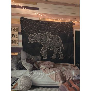 Reiki Charged Henna Elephant Black and White Bohemian Tapestry Wall Hanging