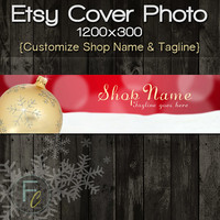 Etsy Shop Cover Photo 1200x300, Premade Christmas Gold Ornament Design, Customize Shop Name, Festive Etsy Shop, Great on Mobile Devices