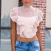 Starlight Mesh Ruffle Crop Top