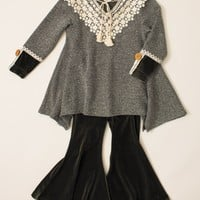 Whimsy by Peaches 'n Cream Girl's Lace Trimmed Tunic with Stretch Velvet Pants