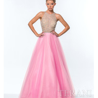Terani 151P0181 Pink Illusion Crystal Top Ball Gown 2015 Prom Dresses