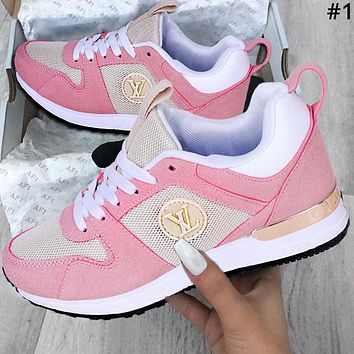 LV tide brand men and women models simple classic sports running shoes #1