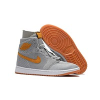 Air Jordan 1 Retro Aj1 Flyknit Wolf Grey 40--47