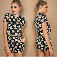 Black Floral Print Short Sleeve T-Shirt with Pleated Shorts