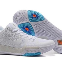 ONETOW VAWA Men's Nike Zoom Kyrie 3 Basketball Shoes White