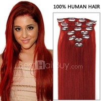 dark red hair extensions 7pcs Straight Red Clip In 70g