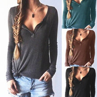 Autumn Women V-Neck Long-Sleeved Sweater Threaded T-Shirts