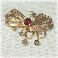 Gold Fill, Butterfly Brooch, Red Rhinestone, Smokey Rhinestone, Butterfly Pin, Van Dell Jewelry, Open Work