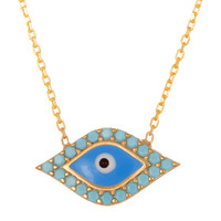 Turquoise Slanted Evil Eye Necklace