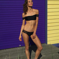 Solid Hollow Out Bikini Set Swimsuit -A30