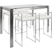 Fuji 5pc Contemporary Counter Height Dining Set, Stainless Steel & White