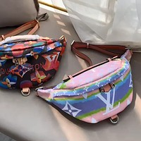 LV colorblock printed chest bag belt bag shoulder bag