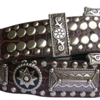 Wildfire Brown Croc with Silver Conchos Belt 9615