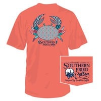 PATTERN CRAB POCKET TEE IN BRIGHT SALMON BY SOUTHERN FRIED COTTON